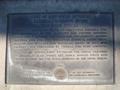 Kersell/Lorente House Marker image. Click for full size.