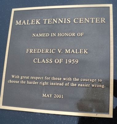 Malek Tennis Center Marker image. Click for full size.