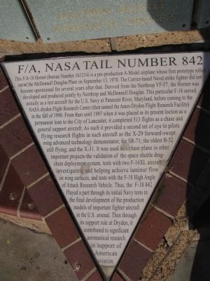 F/A, NASA Tail Number 842 Marker image. Click for full size.