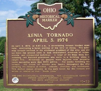 Xenia Tornado, April 3, 1974 Marker (Side B) image. Click for full size.