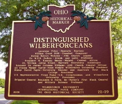 Distinguished Wilberforceans Marker (Side B) image. Click for full size.