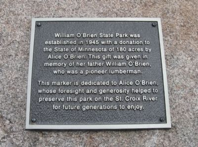 William O'Brien State Park Marker image. Click for full size.