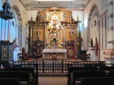 San Fernando Mission Church presbytery with altar image. Click for full size.