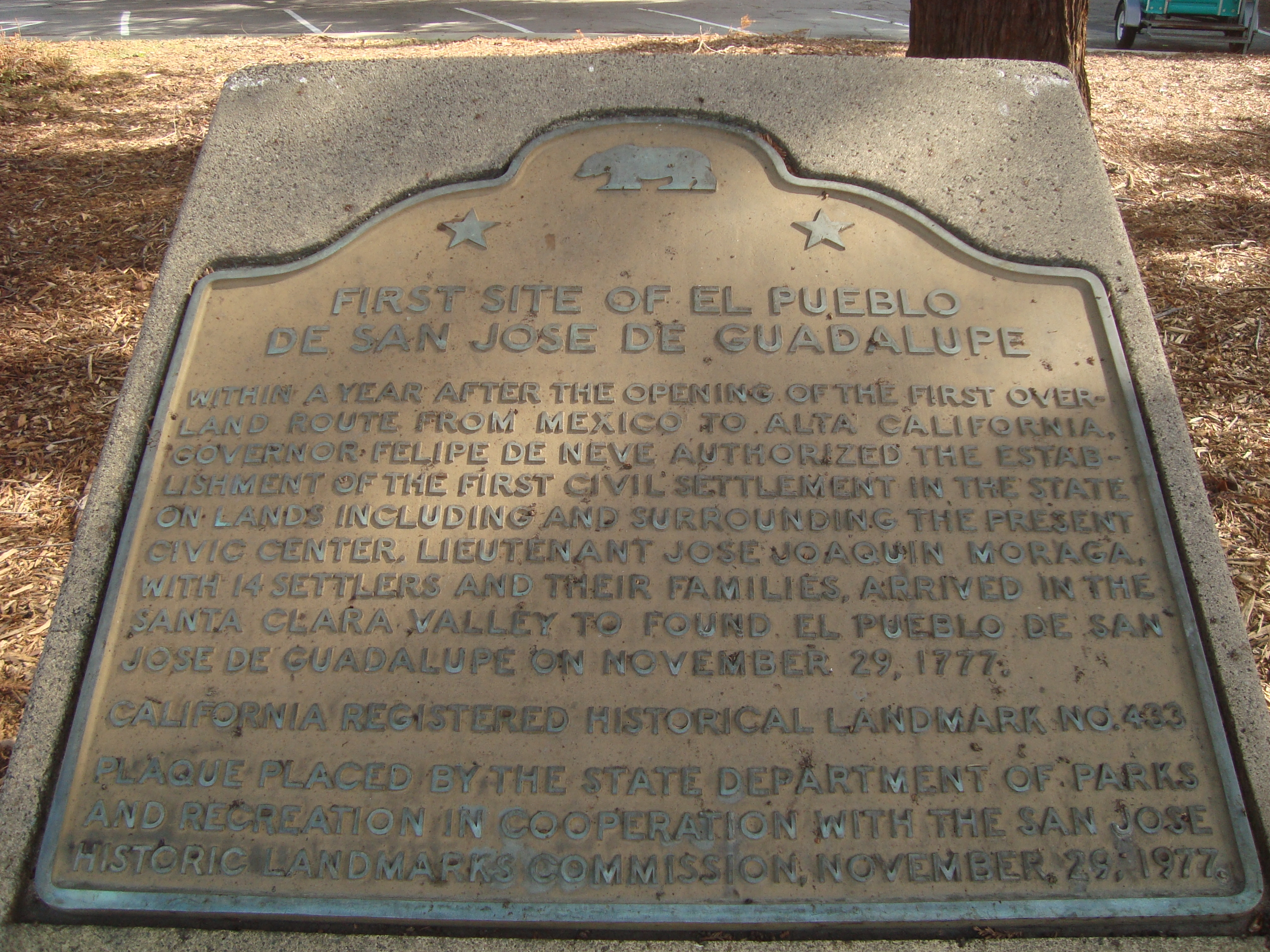 First Site of El Pueblo de San Jose de Guadalupe Marker