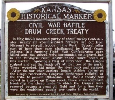 Civil War Battle [and] Drum Creek Treaty Marker image. Click for full size.