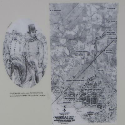 Mr. Lincoln's Ride Marker, close-up of Lincoln sketch and map from White House to Soldiers' Home image. Click for full size.