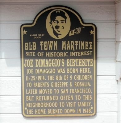 Joe DiMaggio's Birthsite Marker image. Click for full size.