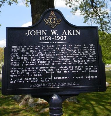 John W. Akin Marker image. Click for full size.