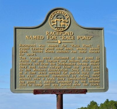 "Racepond Named For ""Race Pond"" Marker image. Click for full size."
