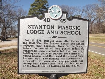 Stanton Masonic Lodge And School Marker image. Click for full size.