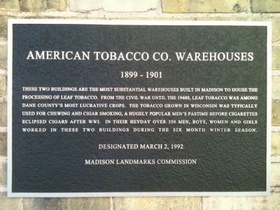 American Tobacco Co. Warehouses Marker image. Click for full size.