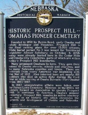 Historic Prospect Hill -- Omaha's Pioneer Cemetery Marker image. Click for full size.
