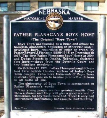 Father Flanagan's Boys' Home Marker image. Click for full size.