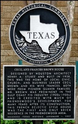 Cecil and Frances Brown House Marker image. Click for full size.
