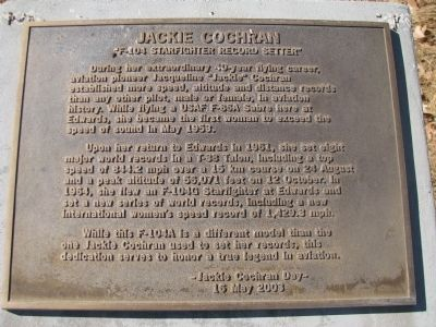 Jackie Cochran Marker image. Click for full size.