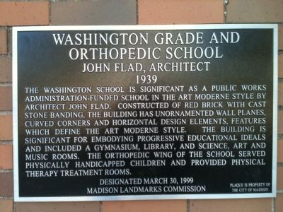Washington Grade and Orthopedic School Marker image. Click for full size.