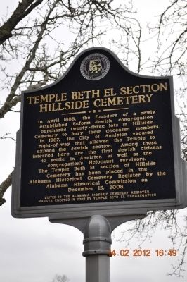 Temple Beth El Section Hillside Cemetery Marker image. Click for full size.