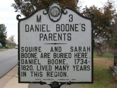 Daniel Boone's Parents Marker image. Click for full size.