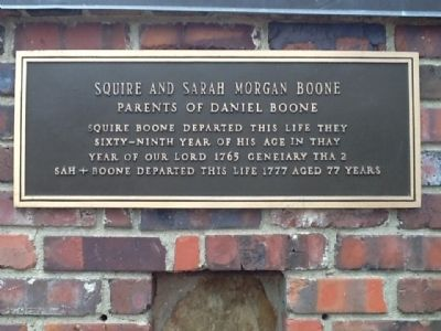 plaque with text of Squire and Sarah Boone's tombstones image. Click for full size.