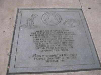 Fort Worth's First Telephone Exchange Marker image. Click for full size.