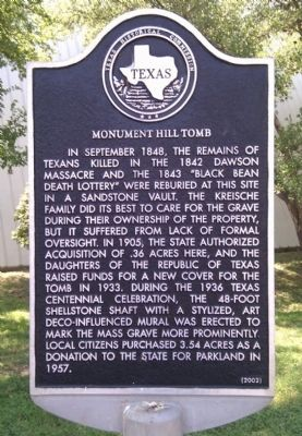 Monument Hill Tomb Marker image. Click for full size.
