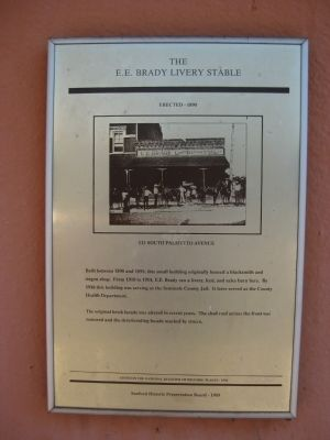 The E. E. Brady Livery Stable Marker image. Click for full size.