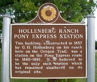 Hollenberg Ranch Pony Express Station Marker image. Click for full size.