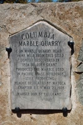 Columbia Marble Quarry Marker image. Click for full size.