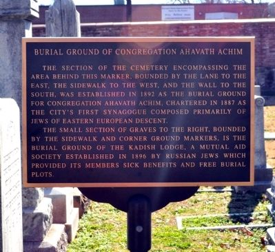 Burial Ground of Congregation Ahavath Achim Marker image. Click for full size.