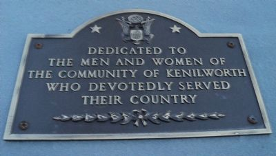 Kenilworth Veterans Memorial Marker image. Click for full size.
