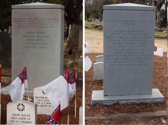 First Crew ...H. L. Hunley Memorial Marker addition in February 2012 image. Click for full size.