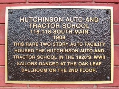 Hutchinson Auto and Tractor School Marker image. Click for full size.