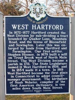 West Hartford Marker image. Click for full size.