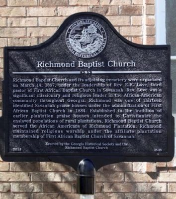 Richmond Baptist Church Marker image. Click for full size.