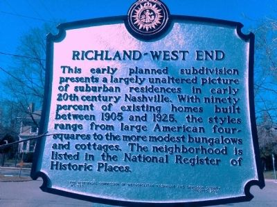 Richland-West End Marker image. Click for full size.