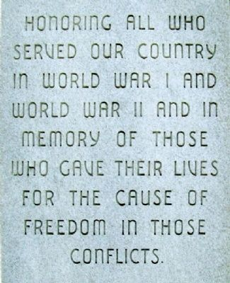 World Wars Memorial Inscription image. Click for full size.