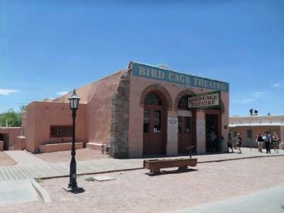 Bird Cage Theatre & Curly Bill Brocius Marker in front. image. Click for full size.