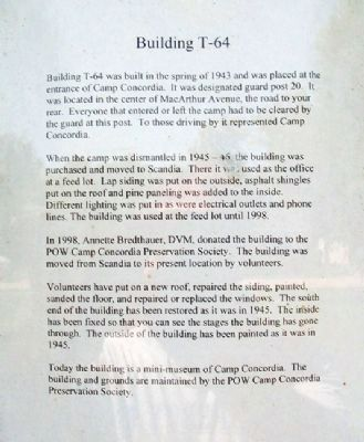 Camp Concordia Bldg T-64 Information image. Click for full size.