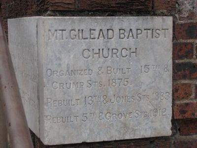 Mt. Gilead Baptist Church Marker image. Click for full size.