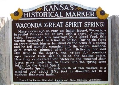 Waconda (Great Spirit Spring) Marker image. Click for full size.