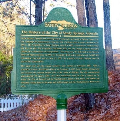 The History of the City of Sandy Springs, Georgia Marker image. Click for full size.