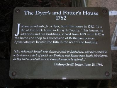 The Dyer's and Potter's House 1782 Marker image. Click for full size.