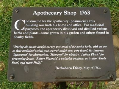 Apothecary Shop 1763 Marker image. Click for full size.