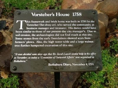 Vorsteher's House 1758 Marker image. Click for full size.
