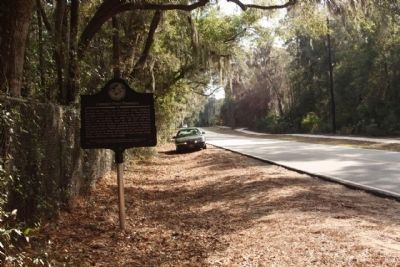 Cannon's Point Plantation Marker, looking south along Lawrence Road image. Click for full size.