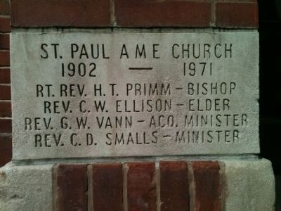 Cornerstone from the St. Paul AME Church image. Click for full size.