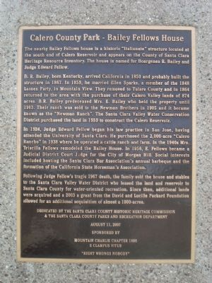 Calero County Park – Bailey Fellows House Marker image. Click for full size.