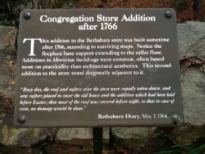 Congregation Store Addition after 1766 Marker image. Click for full size.