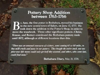 Pottery Shop Addition between 1763-1766 Marker image. Click for full size.