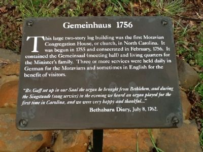 Gemeinhaus 1756 Marker image. Click for full size.